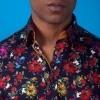 Afbeelding van Overhemd rozenprint, blauw