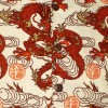 Afbeelding van Chenaski - Overhemd korte mouw, Dragon print, creme orange