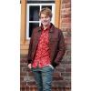 Afbeelding van ATO Berlin | Sportieve jas Every, ruitjespatroon, bruin bordeaux