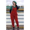 Afbeelding van Run & Fly | Rode ribcord tuinbroek met panterprint, unisex