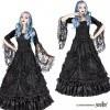Afbeelding van Rok Aleister, zwart gedrapeerde kant gedecoreerd met satijn rozen