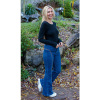 Afbeelding van Run & Fly | Denim Jeans hoge taille met regenboog stiksels