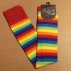 Afbeelding van Flirt | Overknee sokken gestreept regenboog met paars