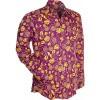Afbeelding van Overhemd seventies, outline flowers violet geel