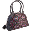 Afbeelding van Handtas bowlingbag model, Rhombus zwart met kleurtjes