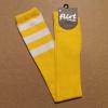 Afbeelding van Flirt | Gele overknee sokken met 3 witte strepen