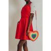 Afbeelding van Voodoo Vixen | Rode ribcord pinafore jurk Donita met hartvorm