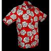 Afbeelding van Overhemd korte mouw outline roses, rood wit