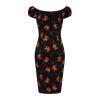Afbeelding van Collectif penciljurk Lorena Midnight zwart met oranje lelies