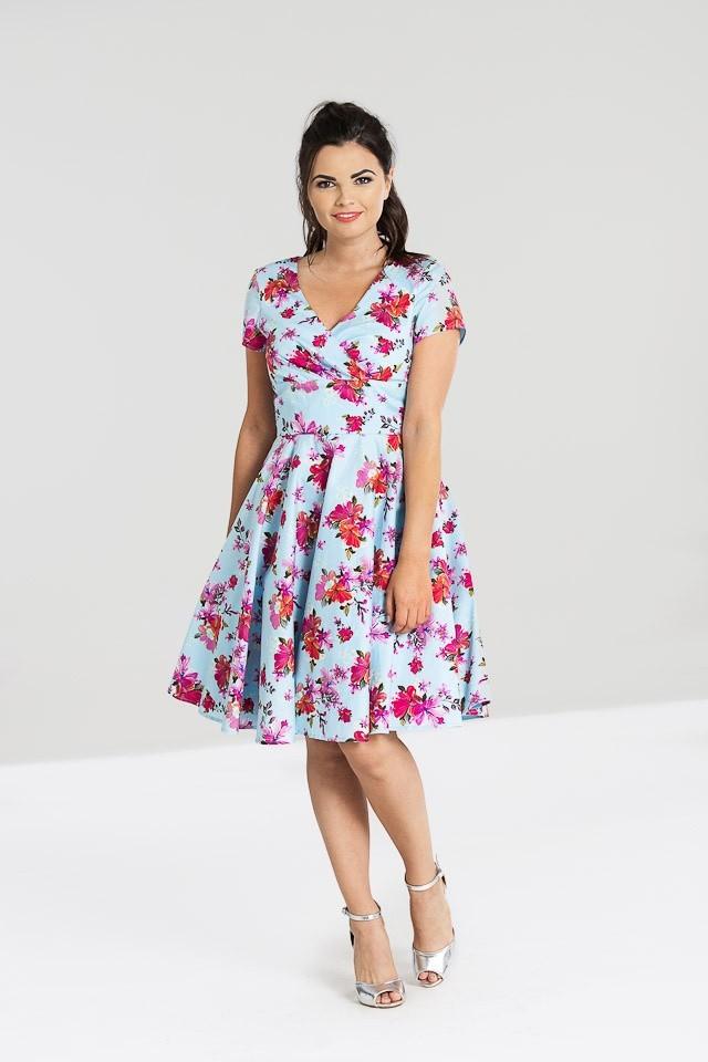 Jurk Alyssa, lichtblauw met roze paars oranje bloemen