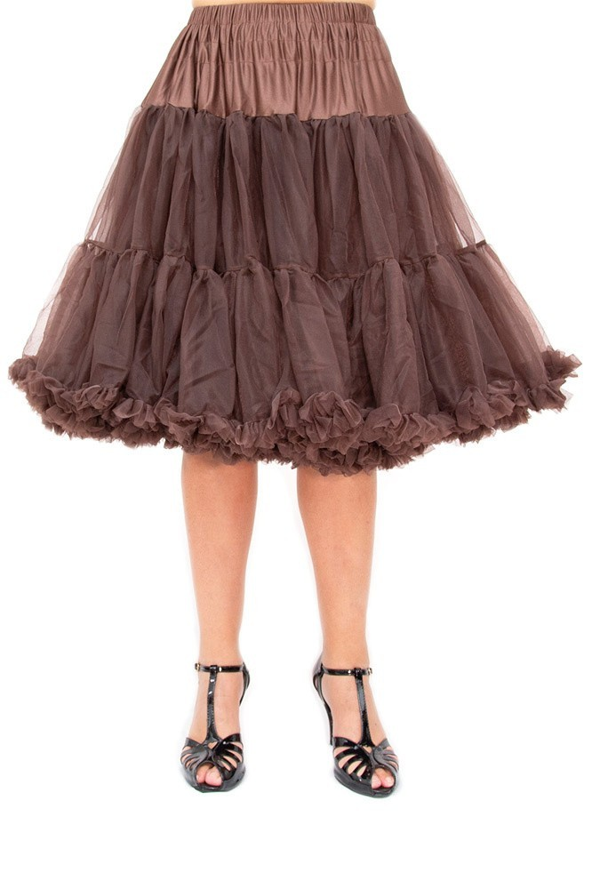 Petticoat Starlite over de knie met extra volume, chocolate brown