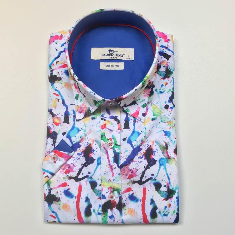 Claudio Lugli, overhemd korte mouw splash paint print