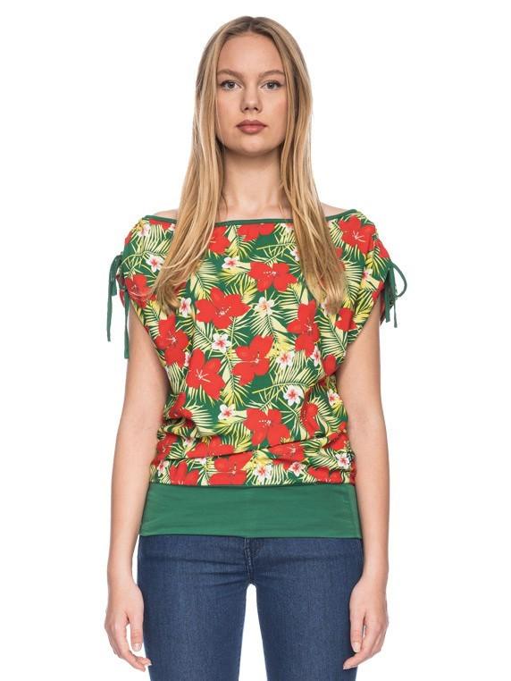 Ato Berlin, T-shirt Mona met tropische bloemen print