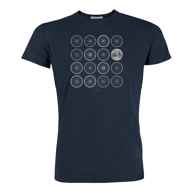 T-shirt bike Wheels bio katoen Navy