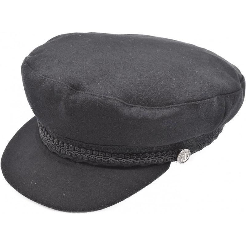 Bretonse captain pet, zwart met een gevlochten band