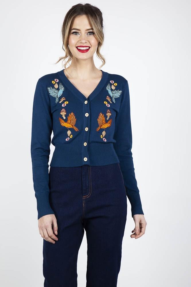 Cardigan Ginny Woodland, met herfst embroidery, blauw