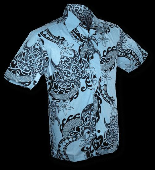 Overhemd korte mouw Tribal lichtblauw zwart