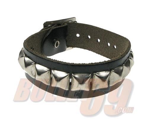 Bullet69 - Leren armband, 20mm - zwart met zilverkleurige kleine piramides-10mm