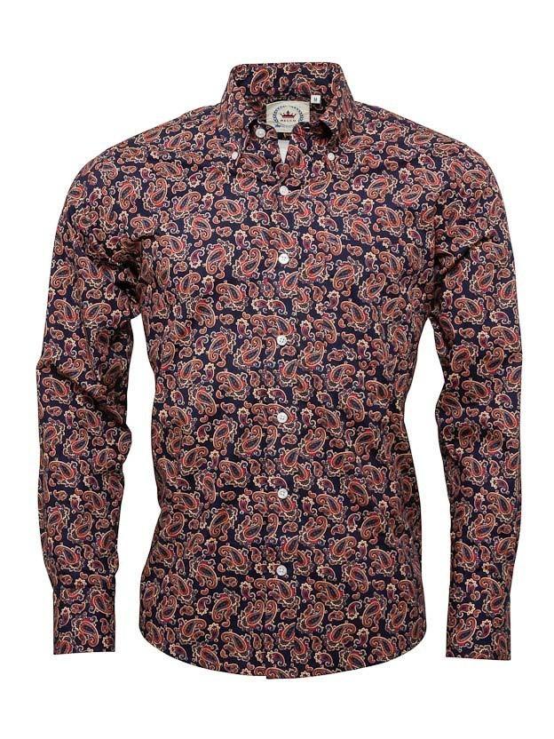 Overhemd met lange mouw, Paisley navy