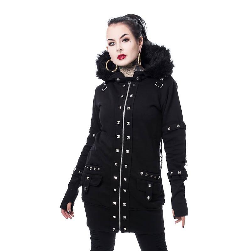 Hoody Effie, met studs en faux-fur kraag, zwart