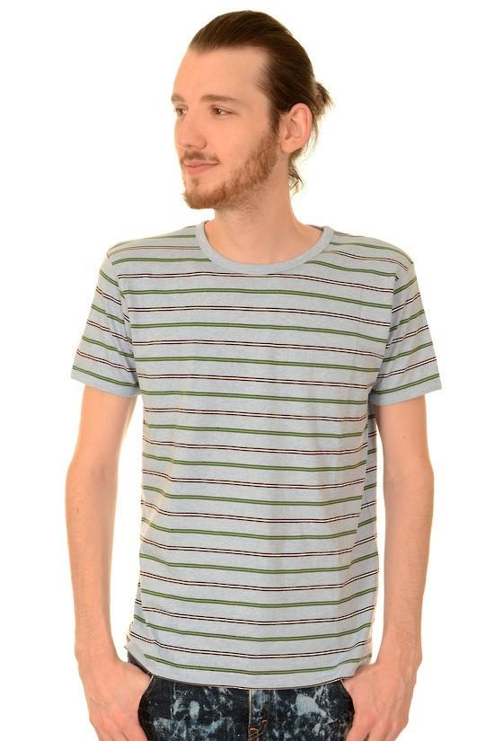 T-shirt, retro grijs gestreept