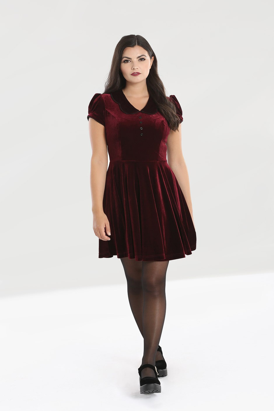 Hell Bunny   Bordeaux velvet jurk Blaise met pofmouwen