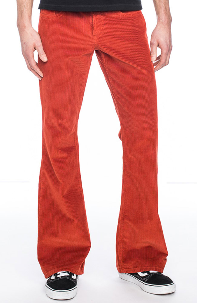 ATO Berlin | Ribcord broek Newton, oranje met uitlopende pijp