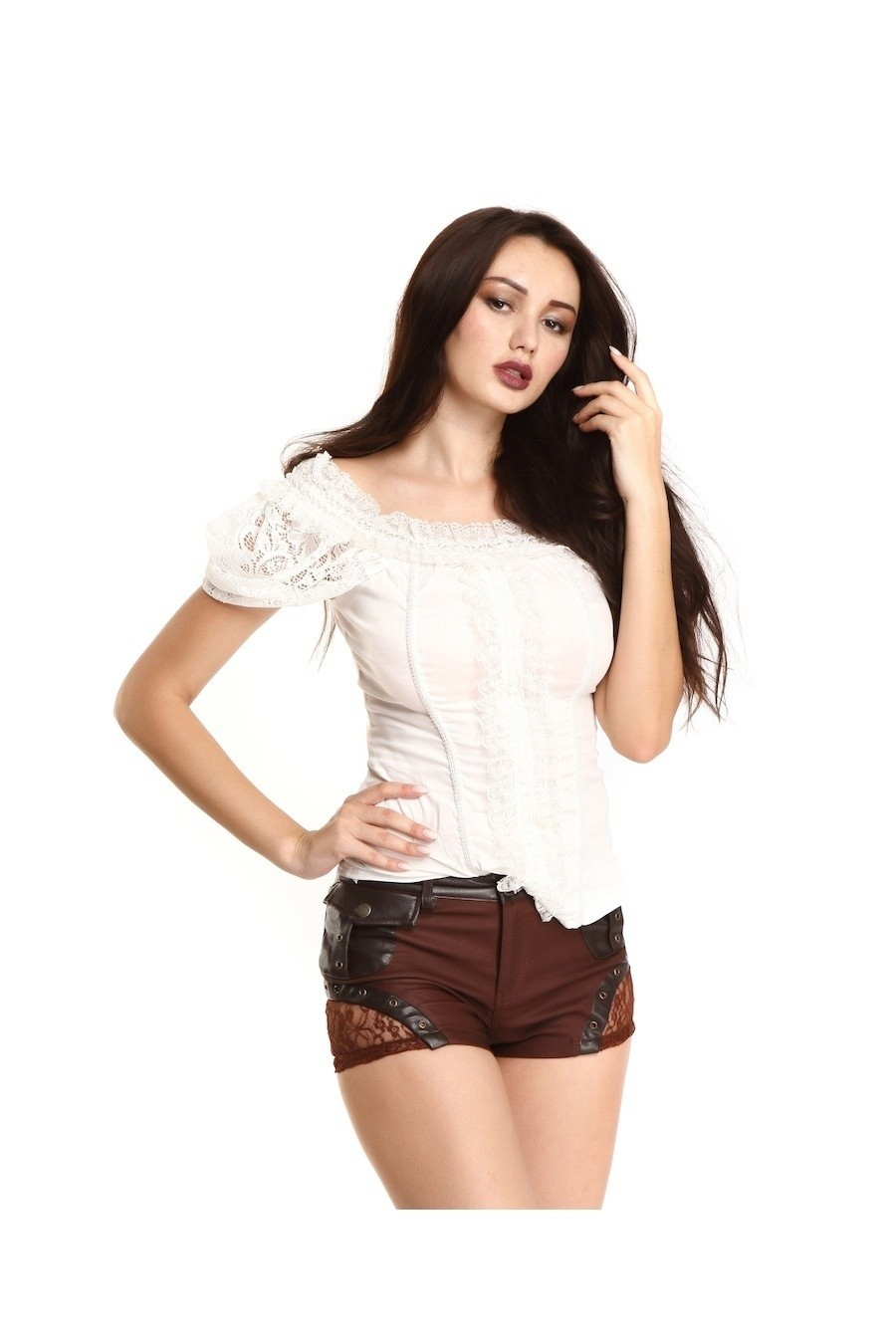 Steampunk gothic top, wit met kant
