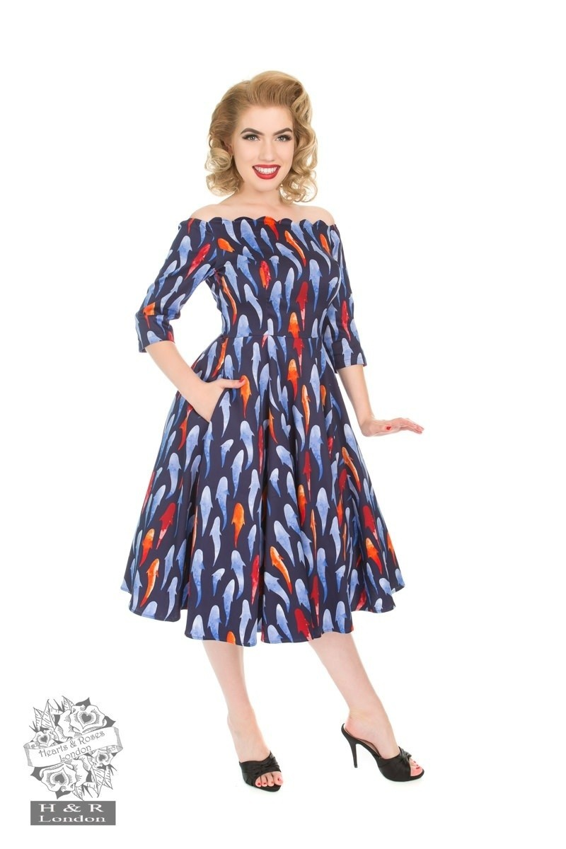 Jurk Ruby, 50's swingmodel, donkerblauw met visjesprint