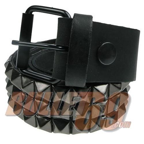 Bullet69 - Leren riem, 38mm-zwart met drie rijen zwarte piramide studs-10mm