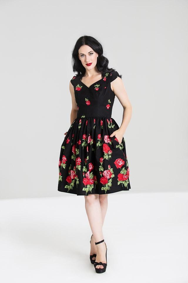 Jurk Antonia, zwart met rode rozen