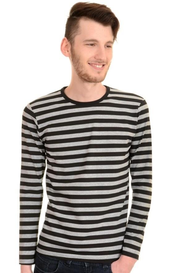 T-shirt met lange mouw, grijs zwart gestreept