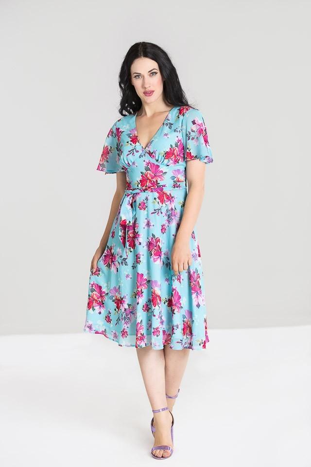 Jurk Primavera, lichtblauw met roze bloemen