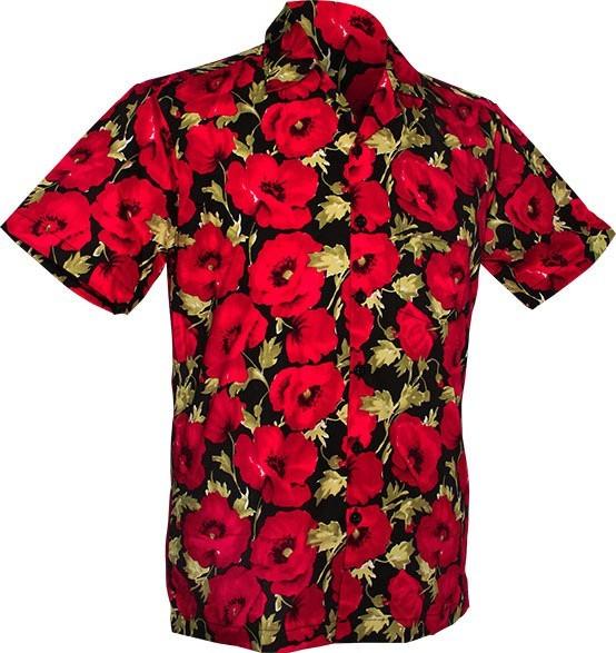 Chenaski - Overhemd korte mouw, Poppy, black red