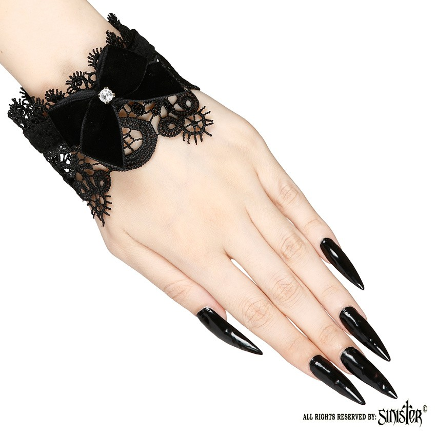 Sinister - Manchetjes Monra, zwart kant met fluweel en diamantje