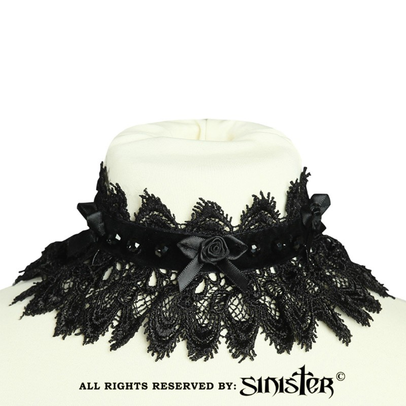 Choker Zoë, fluweel met satijnen bloem en kralen, zwart
