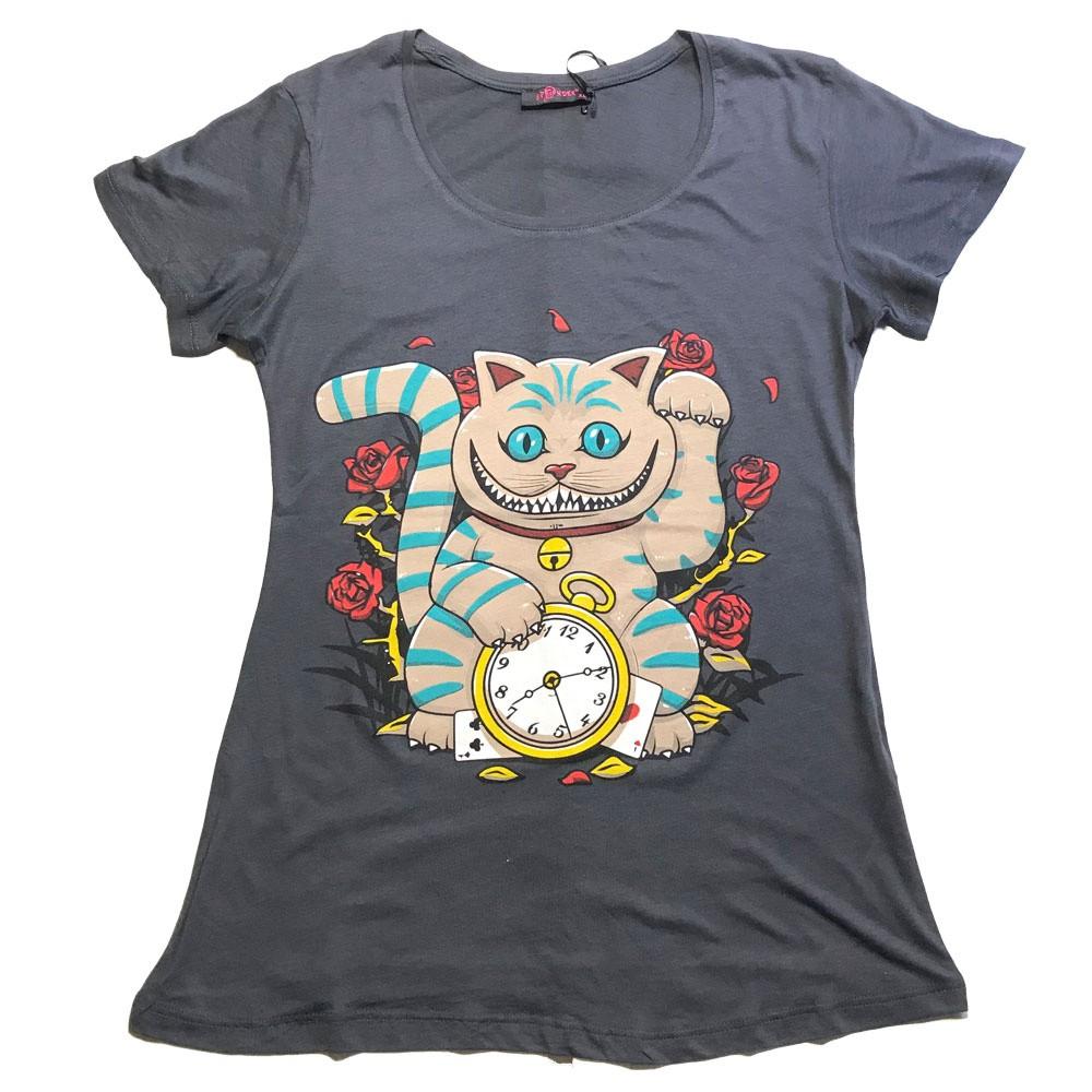 T-shirt Maneki cat, grijs