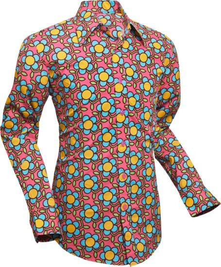 Overhemd Seventies Flowergrid, pink