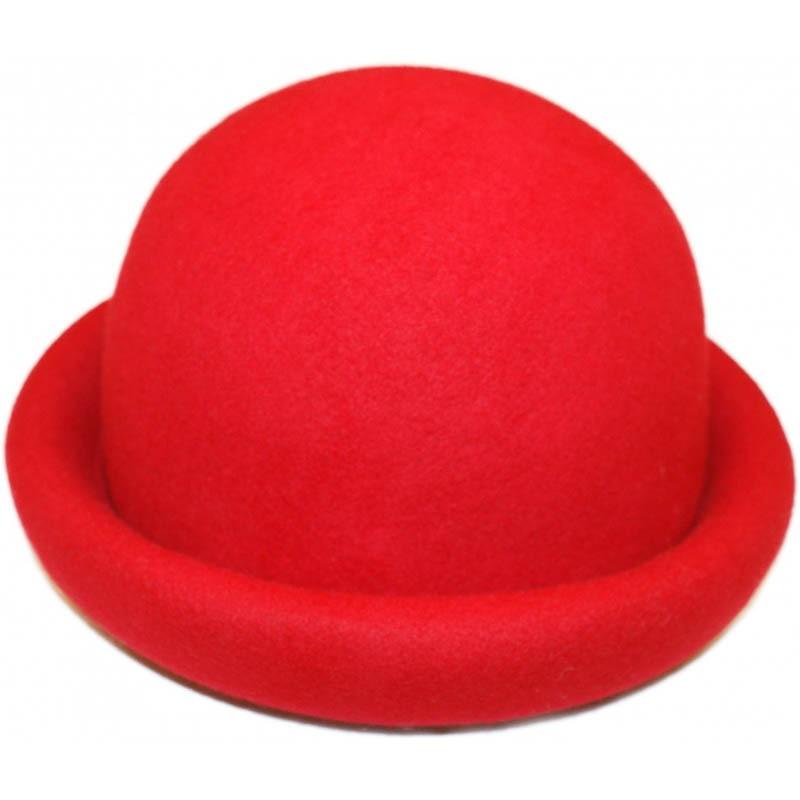 Bolhoed, zachte ladyroller-boller, rood