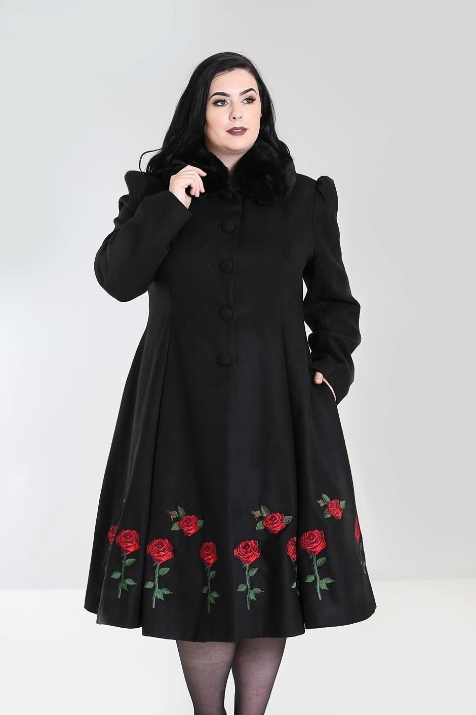 Winterjas, Rosa Rossa met geborduurde rozen