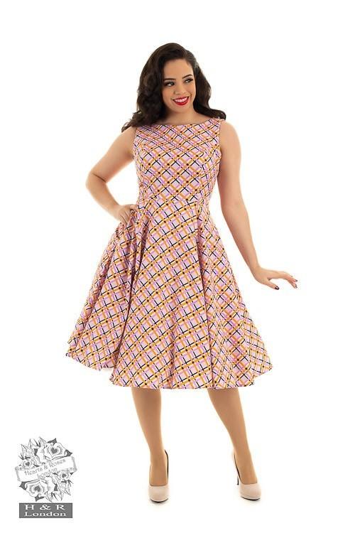 Hearts & Roses - Swingjurk Audrina, met jaren 50 patroon, roze