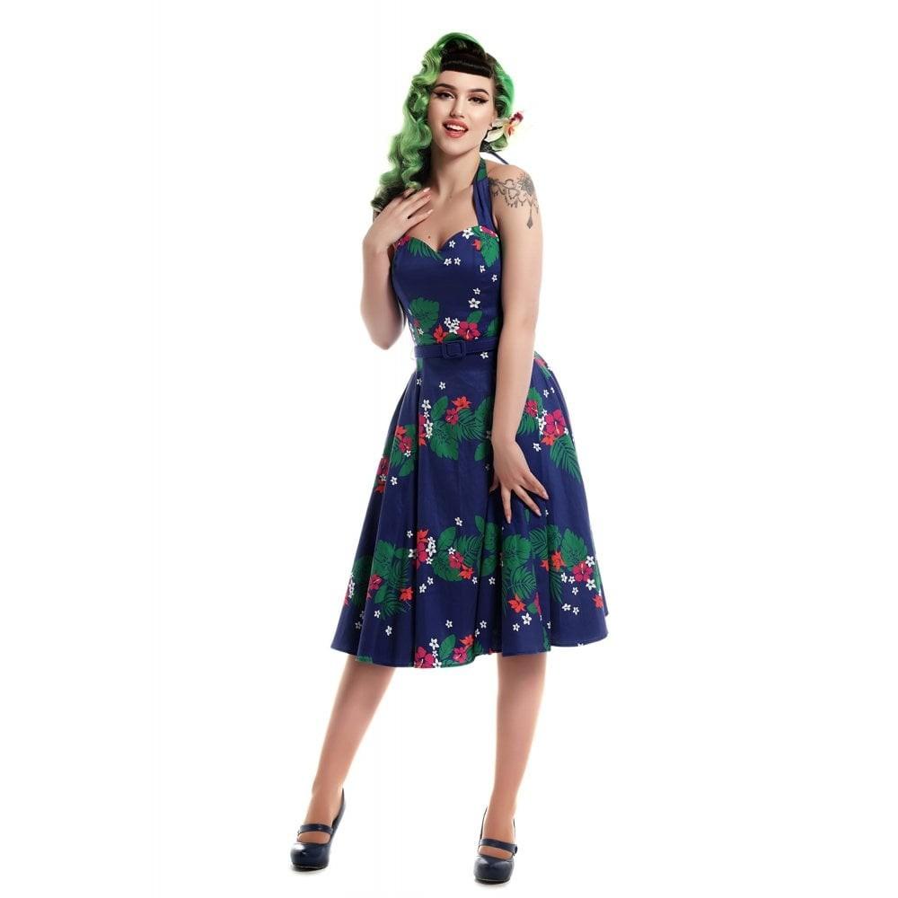 Jurk Beth Tahiti, swingmodel, blauw met 70's bloemen
