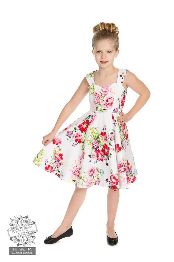 Kinderjurk, Rose Paradise Swing, wit met bloemen
