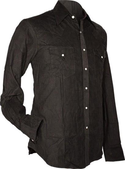 Chenaski, cowboy overhemd van fijne ribcord, zwart