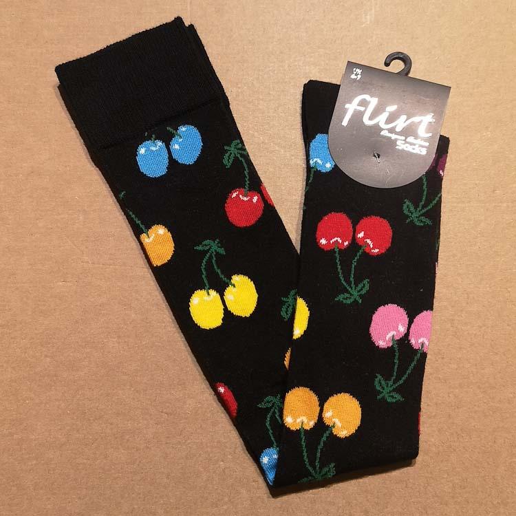 Flirt   Overknee sokken zwart met gekleurde kersen