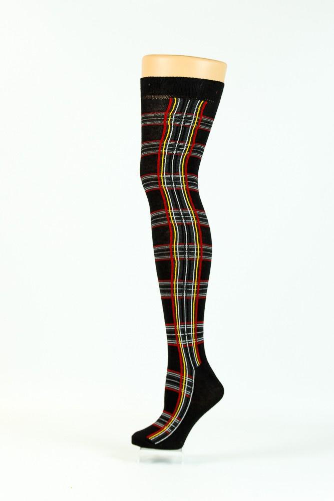 Flirt   Zwarte overknee sokken met tartan print