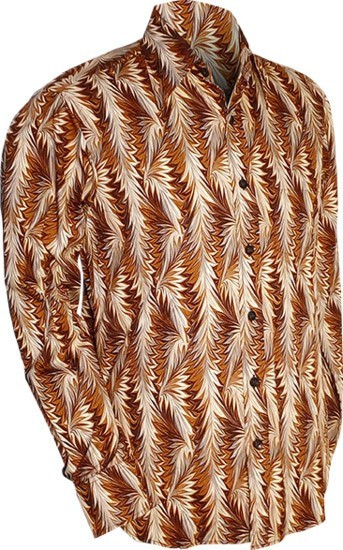 Overhemd retro, Feathers brown