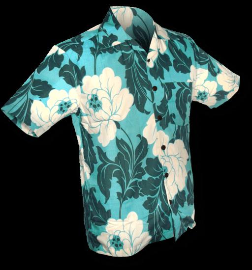Overhemd korte mouw Flowers creme turquoise