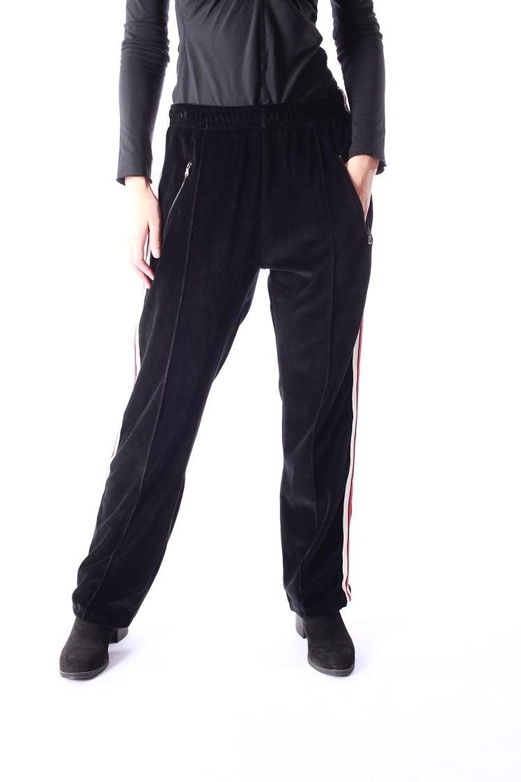 Jogging broek retro, Runner zwart fluweel rood wit gestreept