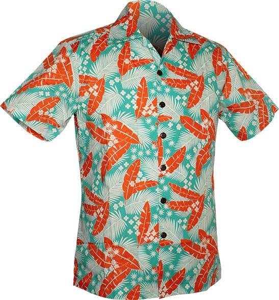 Chenaski | Overhemd korte mouw, Aloha, creme turquoise orange